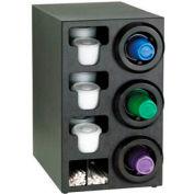Dispense-Rite® Upright Right 3 Cup Dispenser w/Lid & Straw Organizer