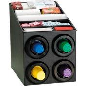 Dispense-Rite® Countertop 4 Cup Dispenser w/Lid & Straw Organizer