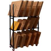 "Dehnco 3 Tier Carton Rack w/ Deck & 12 Dividers, 54-1/2""L x 18""W x 76""H, Black & White"
