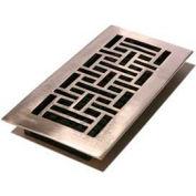 "Décor Grates Nickel Finish Solid Brass Register, Oriental, 4"" X 10"" - Pkg Qty 8"