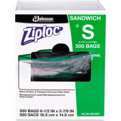 "ZIPLOC® Resealable Sandwich Bags 6-1/2"" x 6"" 1.2 Mil Clear 500 Pack"