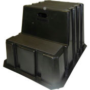 """2 Step Nestable Plastic Step Stand - Black 25-3/4""""W x 32-3/4""""D x 20-1/2""""H - NST-2-01"""