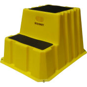 """2 Step Nestable Plastic Step Stand - Yellow 25-3/4""""W x 32-3/4""""D x 20-1/2""""H - NST-2-14"""