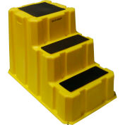 "3 Step Nestable Plastic Step Stand - Yellow 25-3/4""W x 42""D x 29""H - NST-3-14"