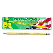 Dixon Ticonderoga Yellow Pencil, Woodcase, #2.5, Black Lead, 12-Pack