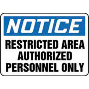"""Accuform Signs 7"""" X 10"""" Blue .040 Admittance And Exit Sign """"Notice Resticted Area Authorized"""" - Pkg Qty 2"""