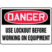"""Accuform Signs 7"""" X 10"""" Red, Black And White Aluminum Value Lockout Sign """"Danger Use Lockout"""" - Pkg Qty 2"""