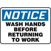 """Accuform Signs 7"""" X 10"""" Blue, Black And White .040 Aluminum Housekeeping And Hygiene Sign"""" - Pkg Qty 2"""