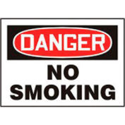 """Accuform Signs 7"""" X 10"""" Red, Black And White .040 Aluminum Smoking Control Sign """"Danger No"""" - Pkg Qty 2"""