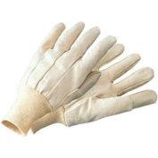 Radnor® Men's White 10 Ounce Cotton/Polyester Blend Cotton Canvas Gloves With Knitwrist - Pkg Qty 16
