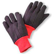Radnor® Large Brown 13 Ounce 100% Cotton Jersey Gloves With Red Knitwrist And Red 100% Cotton - Pkg Qty 16