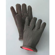 Radnor® Men's Brown 14 Ounce 100% Cotton Jersey Gloves With Slip-On Cuff And Red 100% Cotton - Pkg Qty 16