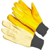 Radnor® Men's White And Gold Mediumweight 100% Cotton Chore Gloves With Knitwrist, Canvas Back - Pkg Qty 8