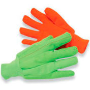 Radnor Large Hi-Viz Green 18 Ounce Cotton/Polyester Blend Fully Corded Cotton Canvas Gloves With - Pkg Qty 8