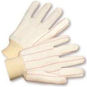 Radnor® Large White 18 Ounce Cotton/Polyester Blend Fully Corded Cotton Canvas Gloves With - Pkg Qty 8