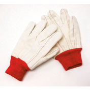 Radnor® X-Large White 18 Ounce Nap-In Cotton/Polyester Blend Cotton Canvas Gloves With Red - Pkg Qty 8