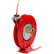 """Duro 1402 Air/Water Retractable Spring Hose Reel, 15-1/2"""" x 7-1/2"""" x 14"""", 25' Hose, 300PSI"""