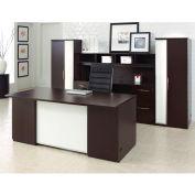 """Desk Office Suite 120""""W x 108""""D x 66""""H Mocha Finish"""