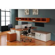 "Double Benching Workstation 144""W x 90""D x 51-3/4""H Honey Maple Finish"