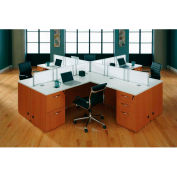 "Quad Workstation with White Tops 144""W x 144""D x 41""H Honey Maple Finish"