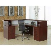 "72"" Right Reception Desk with Glass Mahogany Panels 72""W x 84""D x 42-1/4""H Mocha Finish"