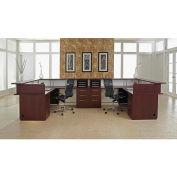 "Double Reception L Desk 144""W x 84""D x 42-1/4""H Mahogany Finish"
