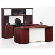 "Left U Desk Workstation 72""W x 108""D x 66""H Mahogany Finish"