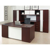 "Left U Desk Workstation 120""W x 108""D x 66""H Mahogany Finish"