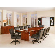 "Belmont 10' Boat Shaped Expandable Conf Table, 7132-120EX, 120""W x 48""D x 30""H, Brown Cherry"