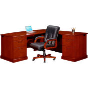 "Flexsteel Executive L Desk w/ Right Return -72""W x 84""D x 30""H - Brown Cherry - Belmont Series"