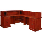 "Belmont Right Reception L Desk, 7132-66, Brown Cherry, 73-1/2""W x 88-1/2""D x 43""H"