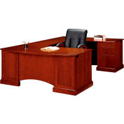 "Belmont Right Executive Corner U Desk, 7132-78, 72""W x 110""D x 30""H, Brown Cherry"