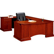 "Belmont Left Executive Corner U Desk, 7132-79, 72""W x 110""D x 30""H, Brown Cherry"
