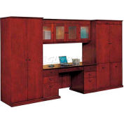 """Del Mar Wall Mountable Overhead Storage w/Crackle Glass 69-1/2""""W x 16""""D x 25""""H, Cherry Finish"""