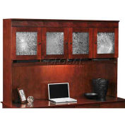 "Flexsteel Overhead Storage Hutch w/ Crackle Glass - 69-1/2""W x 16""D x 48""H - Cherry - Del Mar Series"
