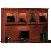 """Del Mar Overhead Storage with Beveled Glass 72""""W x 16""""D x 48""""H, Cherry Finish"""