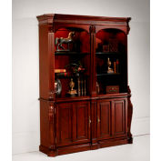 "DMI Balmoor Double Bookcase with Cabinets 60""W x 17""D x 76""H Cherry Finish"