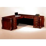 "Flexsteel Right Executive L Desk 76""W x 92""D x 30""H Cherry Finish - Balmoor Series"