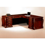 "Flexsteel Left Executive L Desk 76""W x 92""D x 30""H Cherry Finish - Balmoor Series"