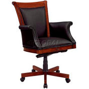 "Antigua Executive High Back Chair W/Black Leather Upholstered Arms - 28-3/4""L x 30-1/2""W"