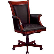 "Rue De Lyon Executive High Back Chair W/ Wood/Upholstered Arms in Black Leather -28-3/4""L x 29-3/4""W"