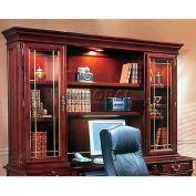 "Flexsteel Executive Overhead Storage W/ Leaded Glass Doors - 72""L x 15""W x 50""H - Keswick Series"