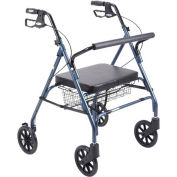 Heavy Duty Bariatric Rollator Walker with Large Padded Seat, Blue