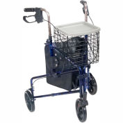 """Drive Medical 10289BL Deluxe 3-Wheel Aluminum Rollator with 7.5"""" Casters, Flame Blue"""