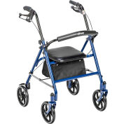 Drive Medical 10257BL-1 Four Wheel Walker Rollator with Fold Up Removable Back Support, Blue