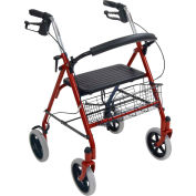 Drive Medical 10257RD-1 4-Wheel Walker Rollator with Fold Up Removable Back Support, Red