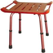Adjustable Height Teak Bath Bench Stool, Rectangular Seat