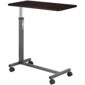 """Non Tilt Top Overbed Table, 30""""W x 15""""D Tabletop, 28""""- 45"""" Height, Silver Vein Base"""