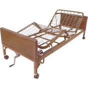 "Drive Medical Semi Electric Bed 15004, 16""-24.5""H, Single Crank, Brown"