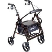 "Drive Medical 795BK Duet Transport Wheelchair Chair Rollator Walker, Black, 8"" Casters"
